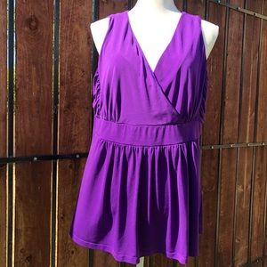 Torrid Sleeveless V-Neck Blouse Purple Sz 2X